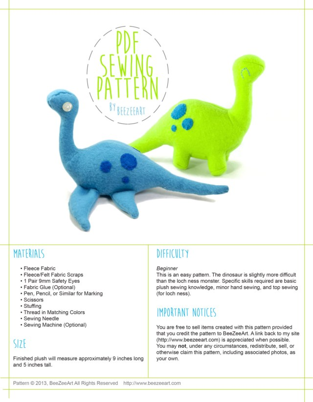 Dinosaur Sewing Pattern Dinosaur And Loch Ness Monster Stuffed Animal Plush Toy Sewing Etsy