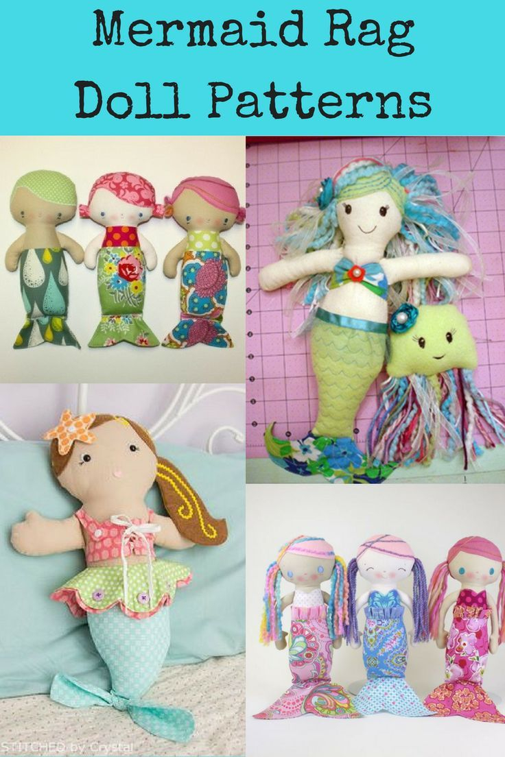 picture relating to Printable Rag Doll Patterns called Doll Sewing Habits Supreme Mermaid Rag Dolls Sewing Models