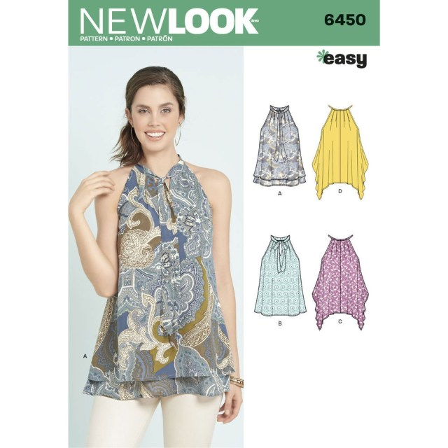 Easy Blouse Sewing Pattern Misses Easy Tops With Optional Neck Tie New Look Sewing Pattern 6450