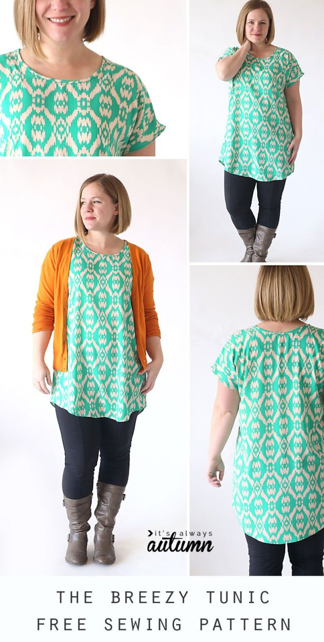 Easy Blouse Sewing Pattern The Breezy Tee Tunic Sewing Pinterest Sewing Sewing Patterns