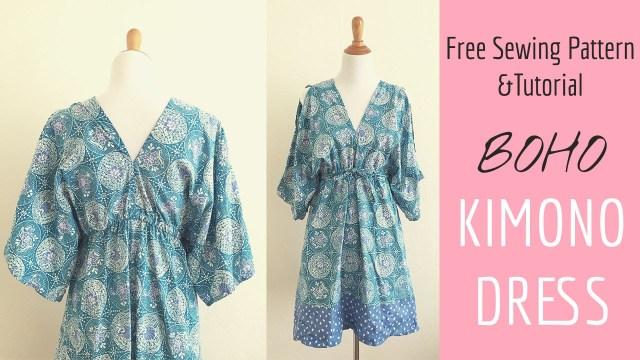 Easy Sew Patterns Boho Kimono Dress Sewing Tutorial Youtube