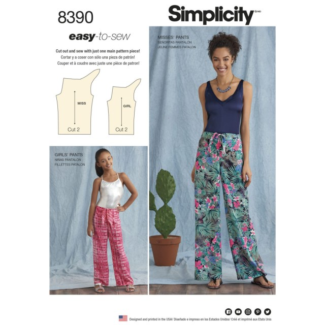 Easy Sew Patterns Sewing Pattern 8390 A Easy Sew Trousers One Size