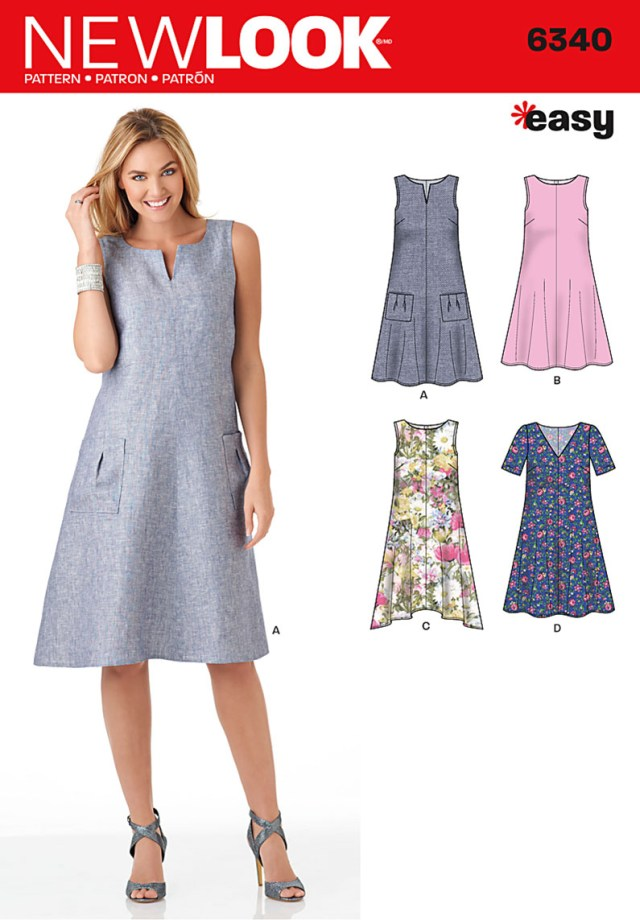 Easy Sewing Patterns 6340 New Look Pattern Ladies Loose Fitting Dress With Bodice And