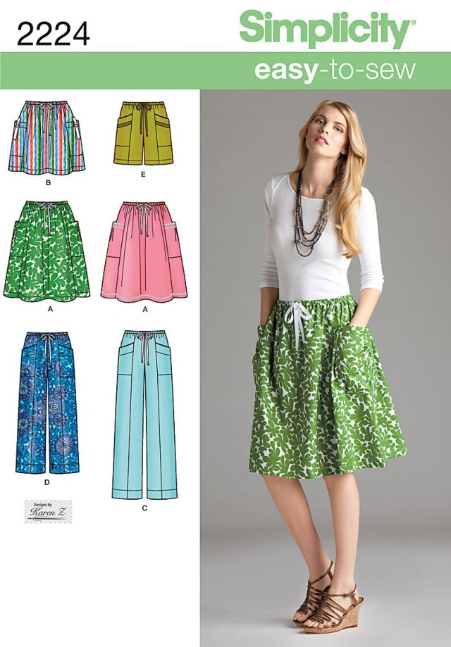 Easy Sewing Patterns Simplicity 2224 Misses Skirt Pants Or Shorts