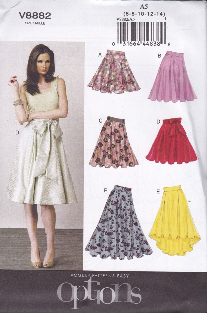 Easy Sewing Patterns Vogue Easy Sewing Pattern Misses Flared Skirt Pleats Sizes 6 22 V8882