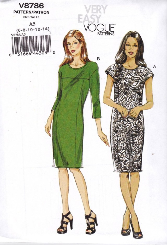 Easy Sewing Patterns Vogue Very Easy Sewing Pattern Misses Pullover Dress Sizes 6 22 V8786