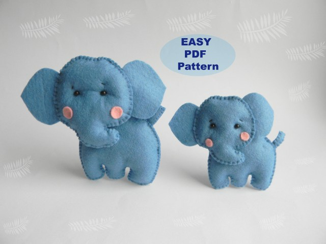 Elephant Sewing Pattern Elephant Easy Pdf Pattern Felt Hand Sewing Elephant Plushie Etsy