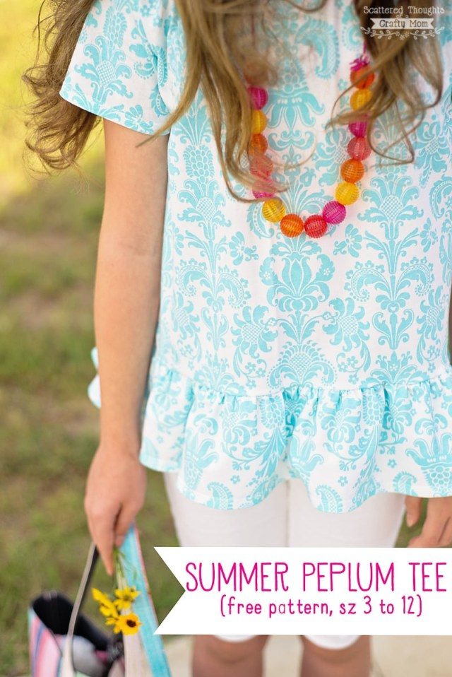 Free Sewing Pattern Easy Summer Peplum Tee Free T Shirt Pattern 3 To 12 Scattered