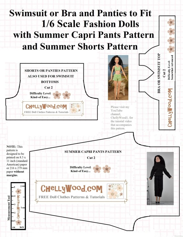 Free Sewing Patterns For Beginners Free Sewing Pattern For Fashiondoll Capri Pants And Summer Bikini