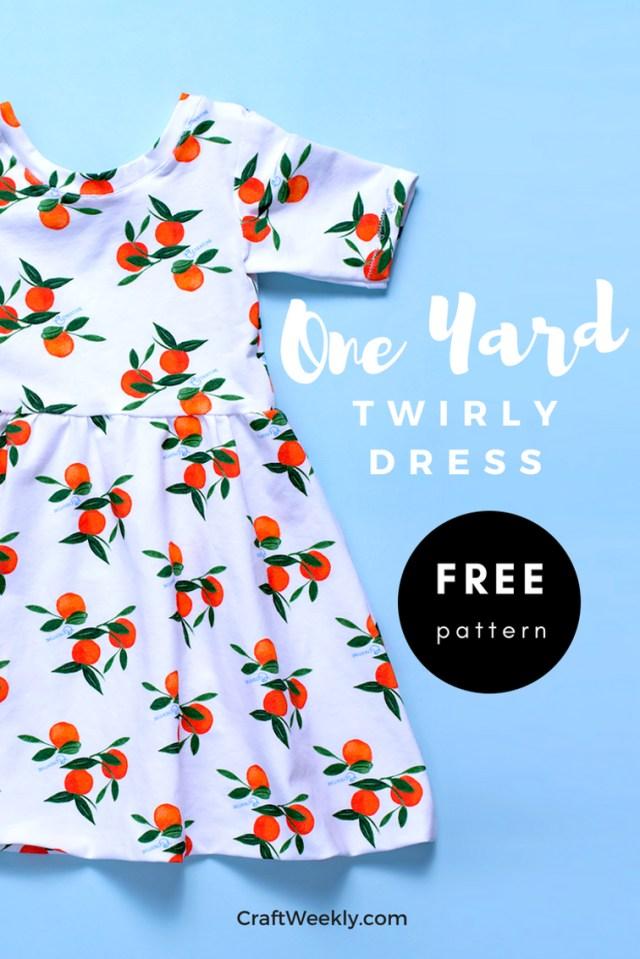 Free Sewing Patterns For Beginners One Yard Twirly Dress Free Sewing Pattern Bluprint