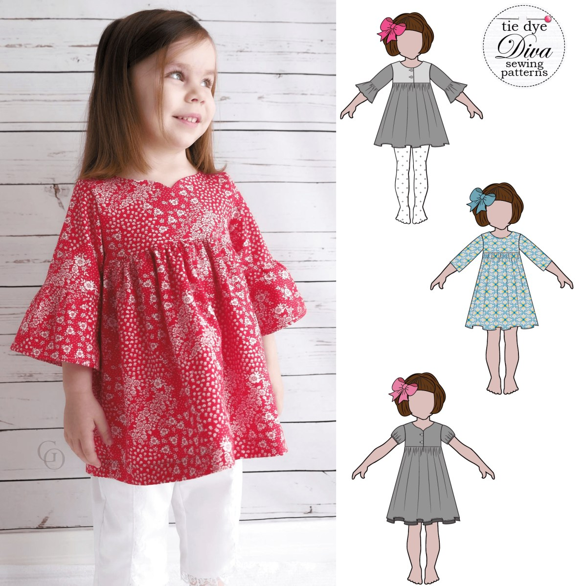 Girls Sewing Patterns Clementine Dress And Top For Girls 12 Months To 910 Years Tie