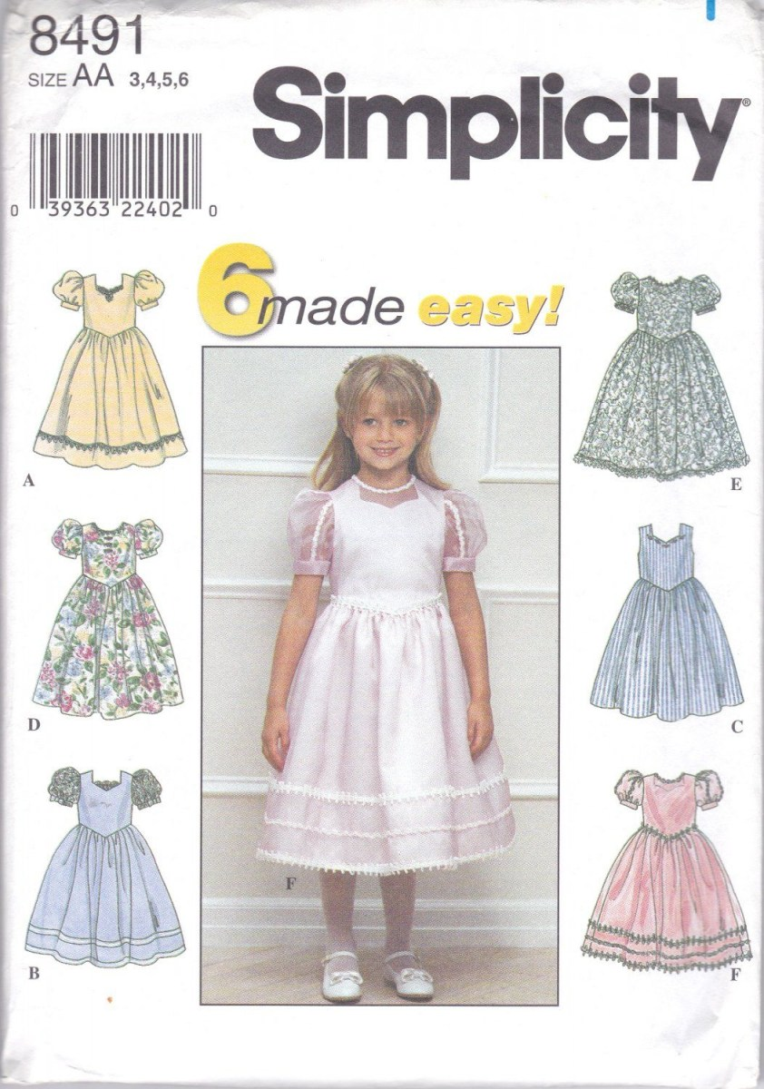 Girls Sewing Patterns Simplicity 8491 Girls Sewing Pattern Childrens Dresses 6 Easy