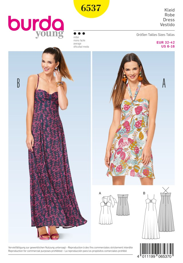 Halter Neck Sewing Pattern Burda 6537 Misses Halter Neck Dress