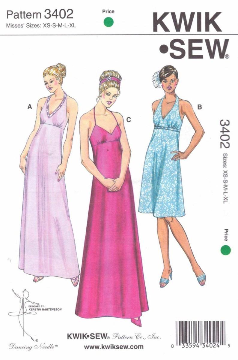 Halter Neck Sewing Pattern Kwiksewsewingpattern3402missessizesxs Xlapprox8 22