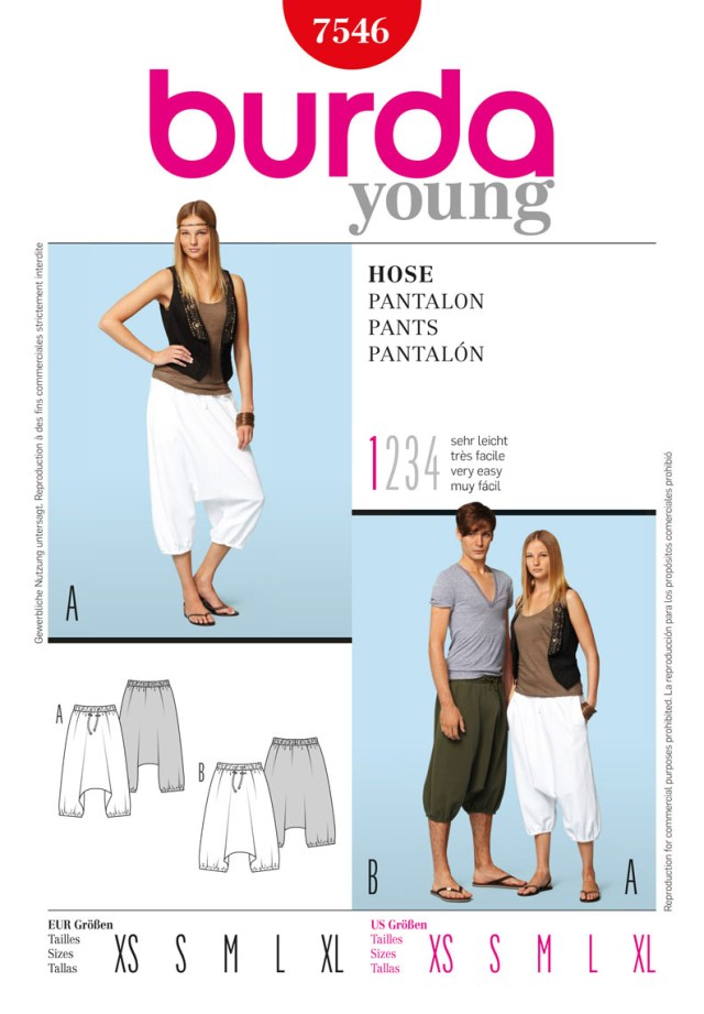 Harem Pants Sewing Pattern Burda Style B7546 Trousers Sewing Pattern