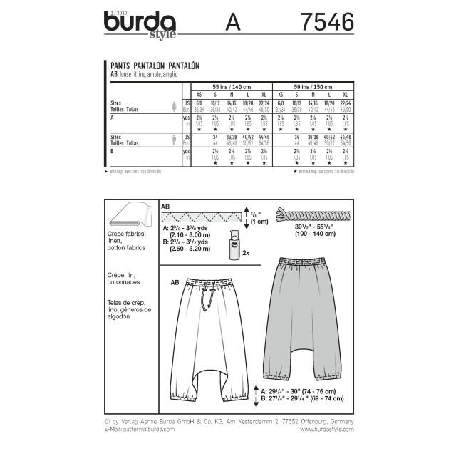 Harem Pants Sewing Pattern Burda Style Pattern 7546 Pants
