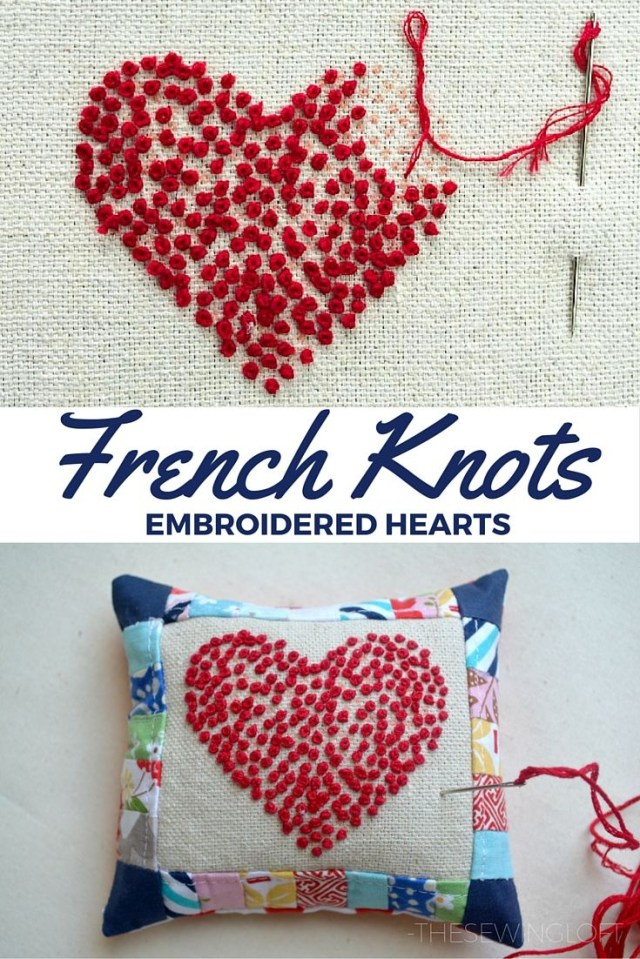 Heart Pillow Sewing Pattern French Knots Embroidered Hearts Pincushion Projects The Polka Dot