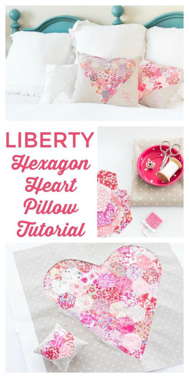 Heart Pillow Sewing Pattern Liberty Hexagon Heart Pillow Tutorial Pillows Pinterest Pillow