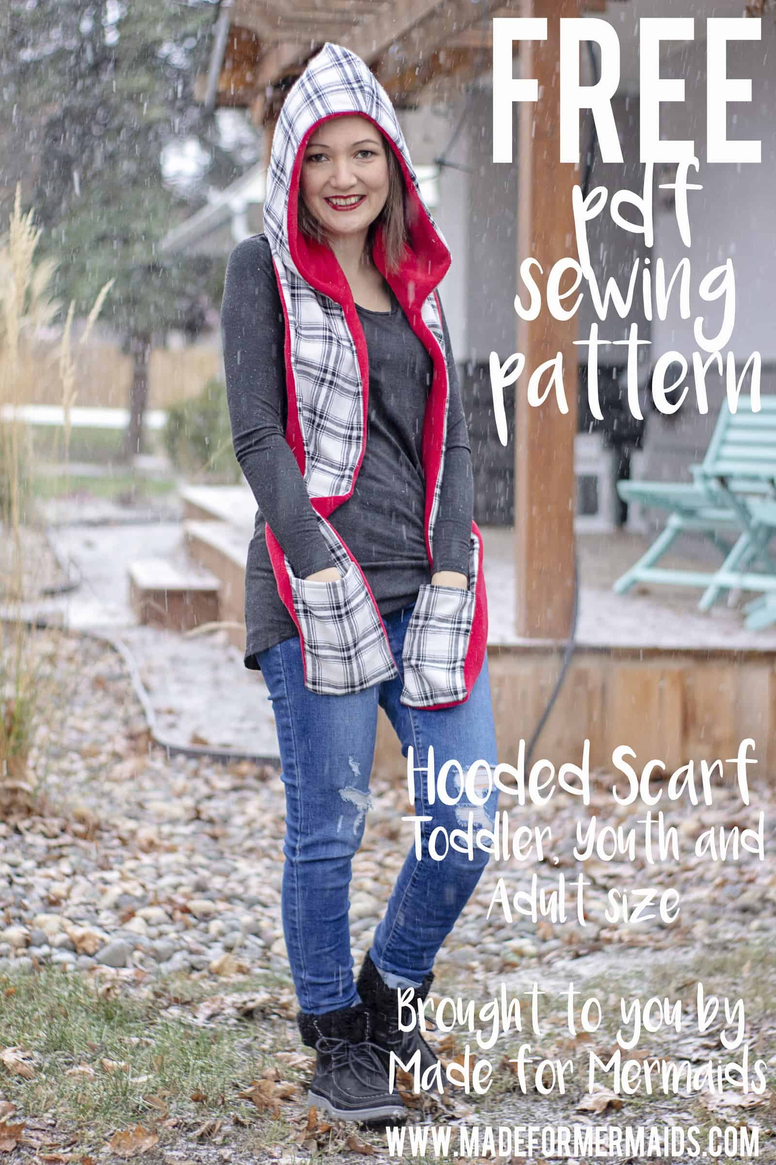 Hooded Scarf Sewing Pattern Free Hooded Scarf In Toddler