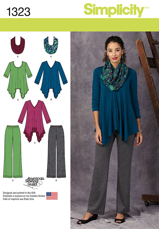 Infinity Scarf Sewing Pattern Simplicity 1323 Misses Knit Tunics Pants And Infinity Scarf