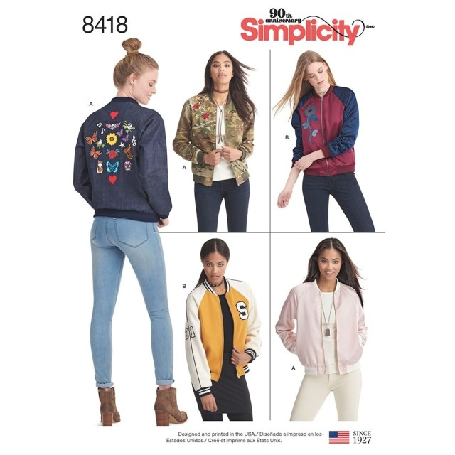 Jacket Sewing Patterns Misses Lined Bomber Jacket With Fabric And Trim Variations