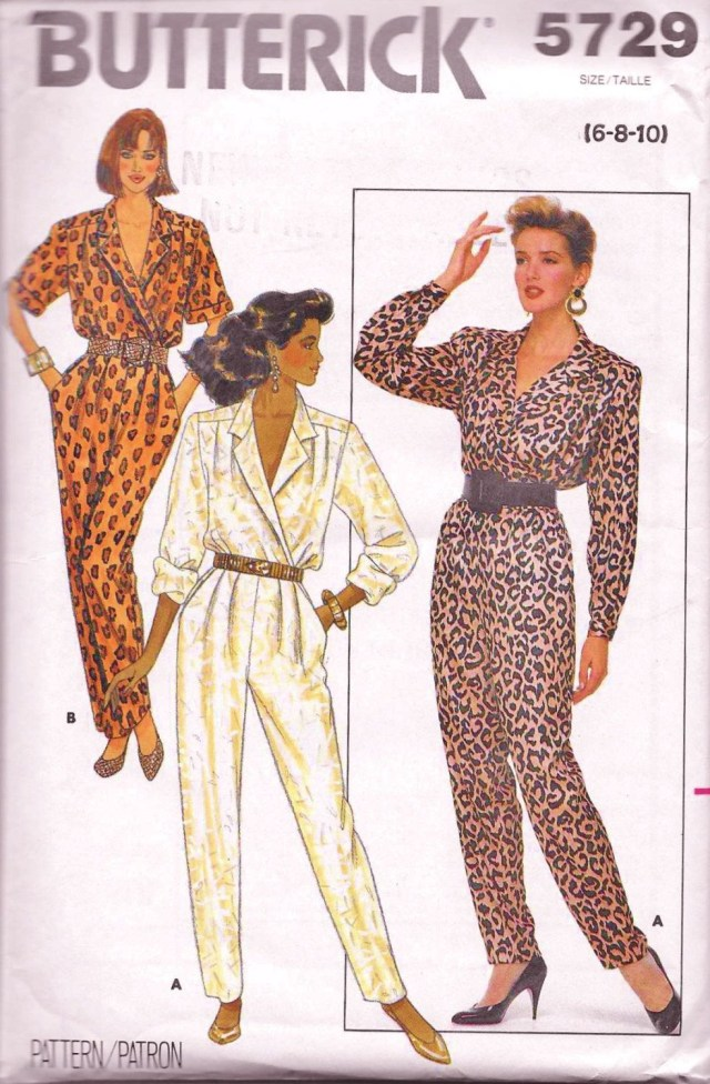 Jumpsuit Sewing Pattern Butterick 5729 Misses 80s Wrap Front Jumpsuit Sewing Pattern Size 6