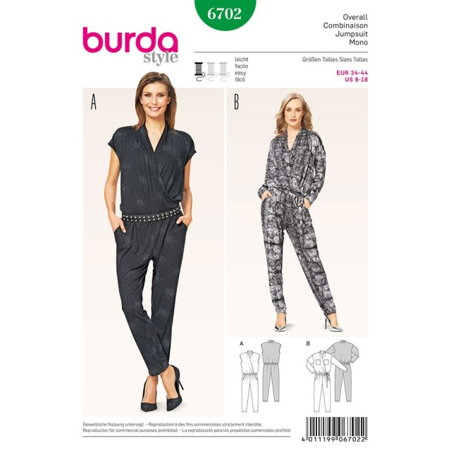 Jumpsuit Sewing Pattern Misses Jumpsuit Burda Sewing Pattern No 6702 Size 8 18 Sew