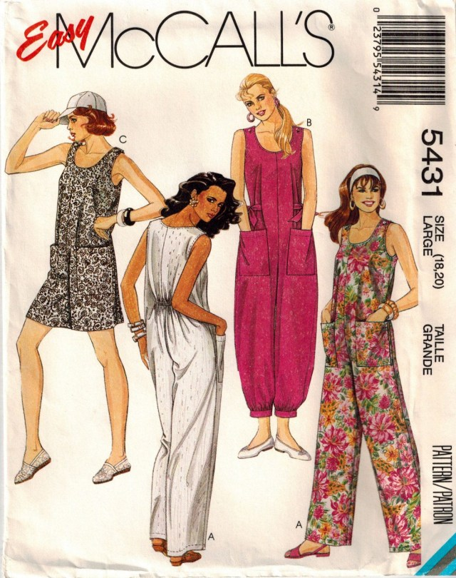 Jumpsuit Sewing Pattern Vintage 90s Misses Jumpsuit Sewing Pattern Three Lengths Baggy