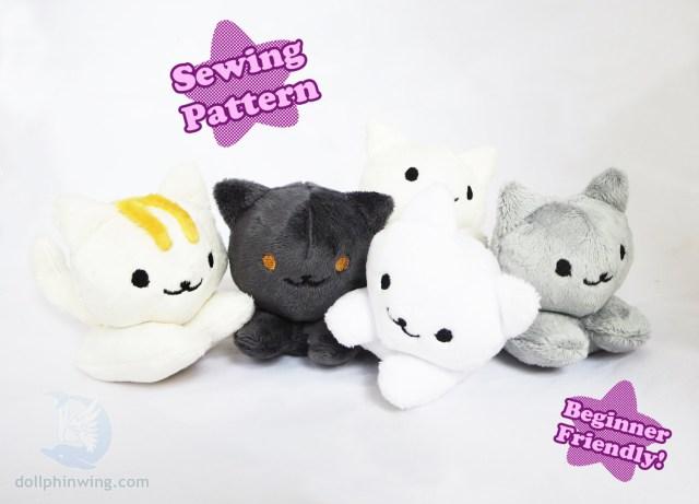 Kawaii Sewing Patterns Cute Kitten Beanie Plush Pattern