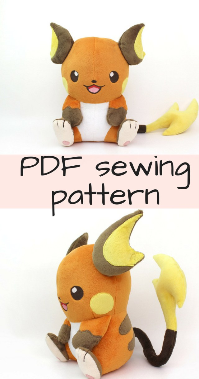 Kawaii Sewing Patterns Pdf Sewing Pattern Kawaii Anime Chibi Plush Plushie 11 Large