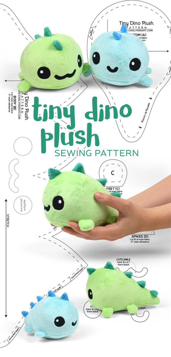 Kawaii Sewing Patterns Tiny Dino Plush Sewing Pattern Sewdesune On Deviantart