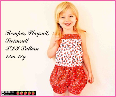 Kids Patterns Sewing Daughters Annabel Romper Playsuit Swimsuit Pattern For Girls 12m 12y Etsy