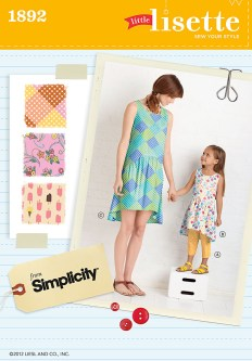Kids Patterns Sewing Daughters Simplicity 1892 Childs Dress And Cropped Pants And Misses Dress