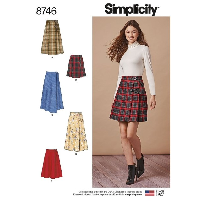 Kilt Sewing Pattern Misses Wrap Skirts Simplicity Sewing Pattern 8746 Sew Essential