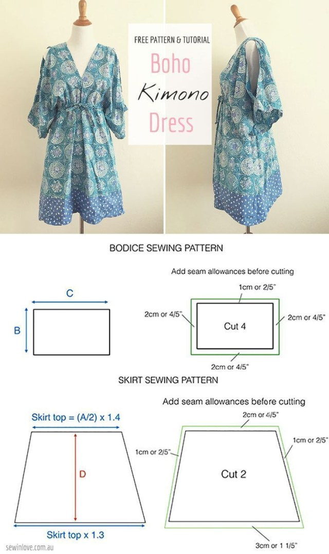 Kimono Sewing Pattern Easy Free Sewing Pattern Make This Boho Kimono Summer Dress Rayon