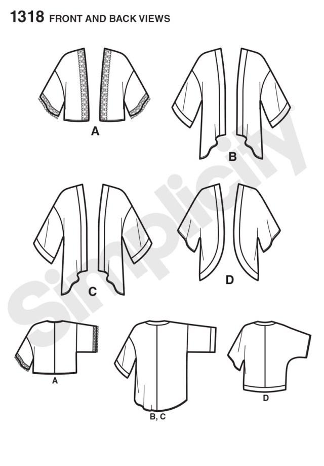 Kimono Sewing Pattern Simplicity 1318 Misses Kimono Jackets