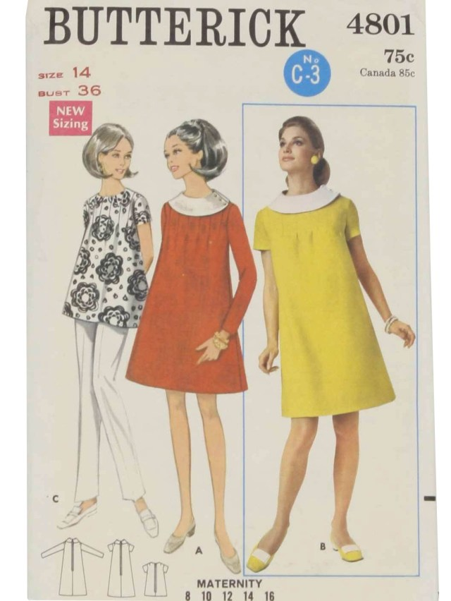 Maternity Sewing Patterns Vintage 1960s Sewing Pattern C1968 Butterick Pattern No 4801