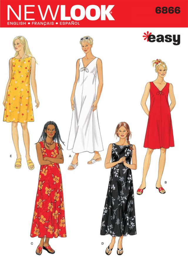 Maxi Dress Sewing Pattern 6866 New Look Pattern Misses Loose Fitting Summer Day Dress Or Maxi