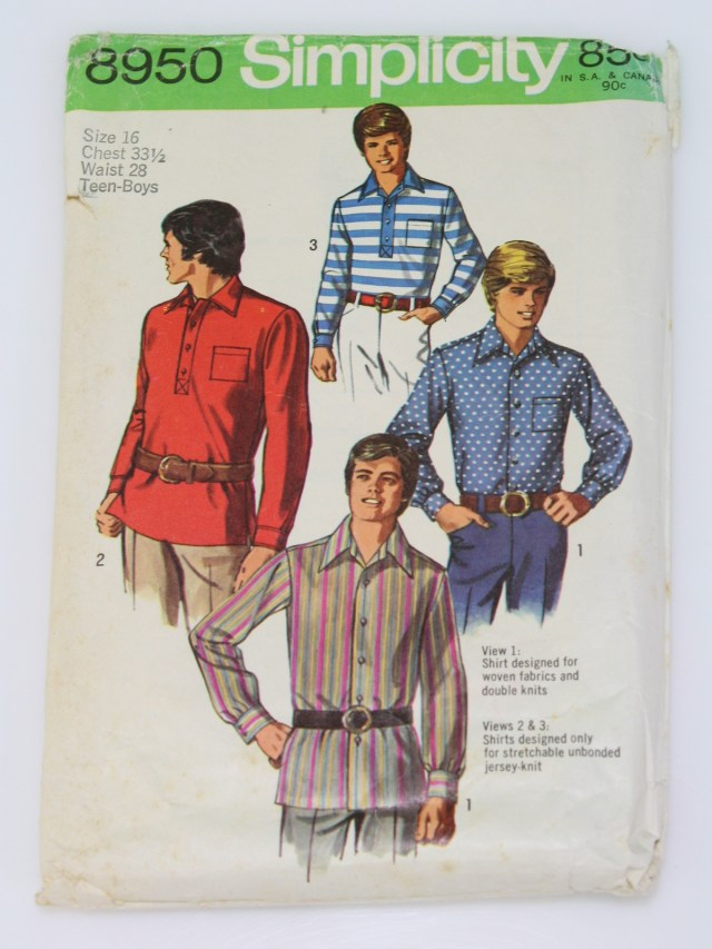 Mens Sewing Patterns 70s Sewing Pattern Simplicity 8950 1970 Simplicity 8950 Mens