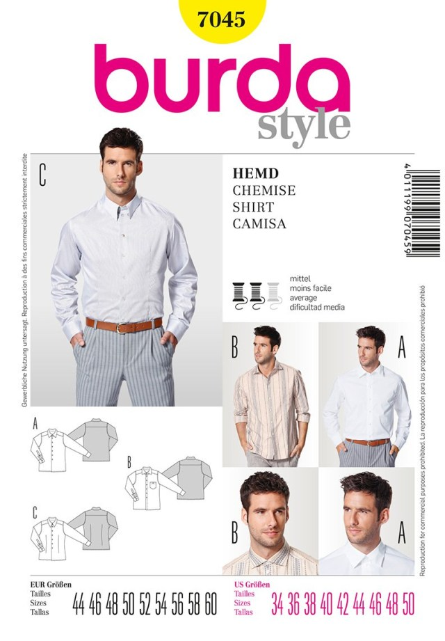 Mens Sewing Patterns Burda 7045 Mens Shirts