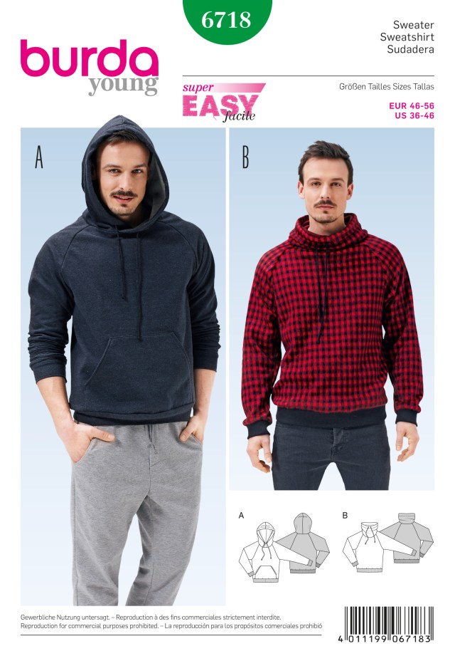 Mens Sewing Patterns Burda B6718 Mens Pullover Hoodie Sewing Pattern