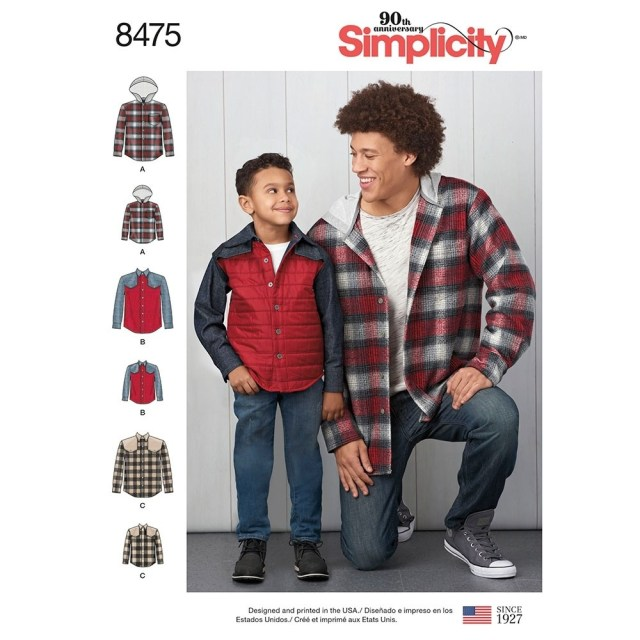 Mens Sewing Patterns Mens And Boys Shirt Jacket Simplicity Sewing Pattern 8475 Sew