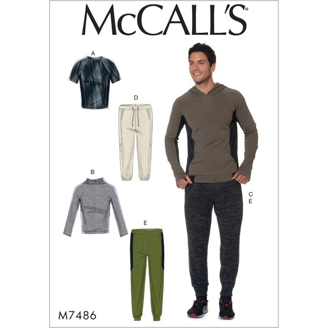 Mens Sewing Patterns Mens Raglan Sleeve Tops And Drawstring Trousers Mccalls Sewing