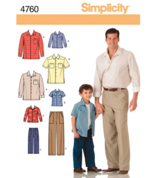 Mens Sewing Patterns Simplicity Pattern 4760 Boys Mens Pants Shirts S M Ls M L Xl