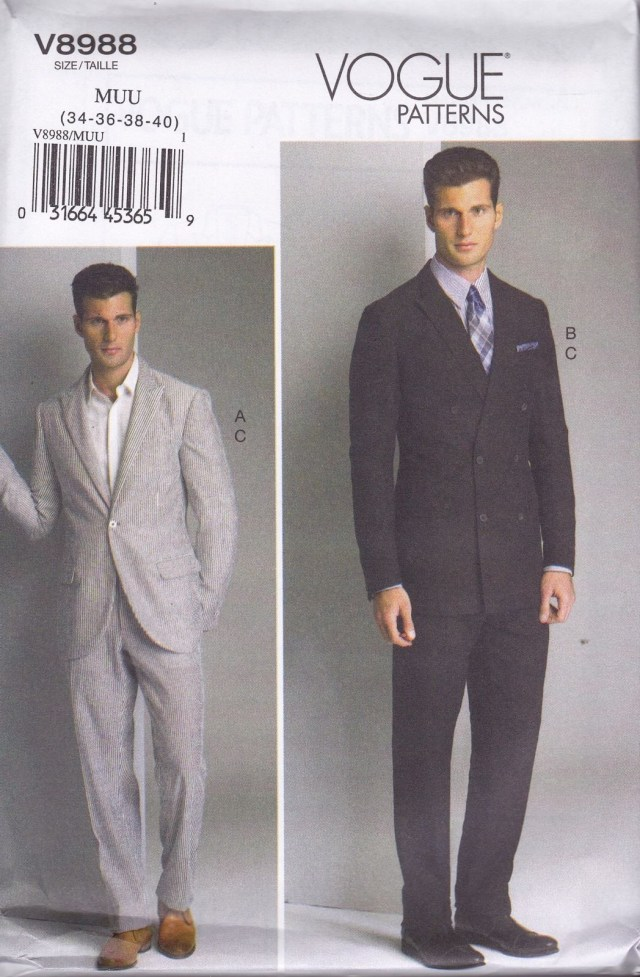 Mens Sewing Patterns Vogue Sewing Pattern Men S Fitted Unlined Jacket Pants Sizes 34