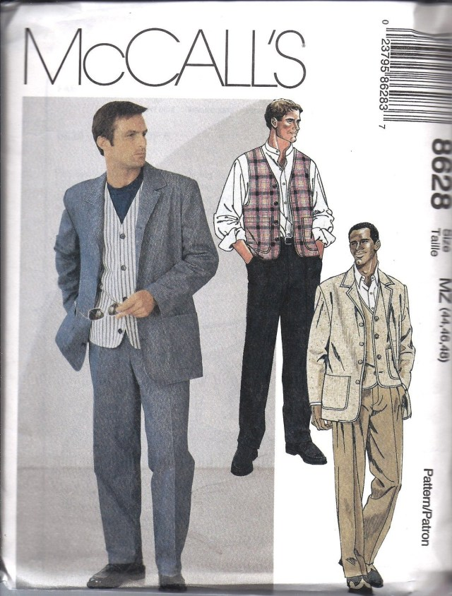 Mens Suit Sewing Patterns Mccalls 8628 Mens Suit Sewing Pattern Jacket Vest Pants Mw 38 40 42