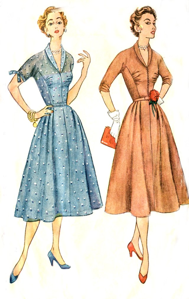 Old Sewing Patterns Vintage 50s Dress Pattern Simplicity 4300 Kimono Sleeves Shawl
