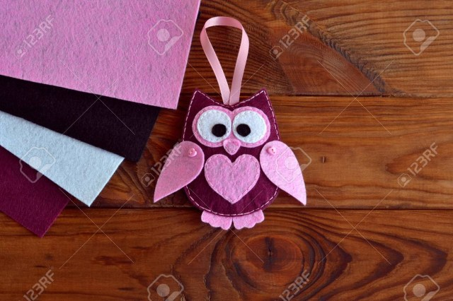 Owl Sewing Pattern Burgundy And Pink Felt Owl Toy Owl Ornament Stuffed Owl Sewing
