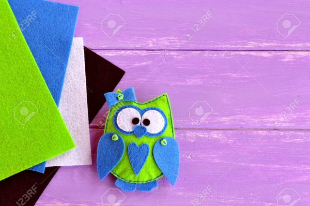 Owl Sewing Pattern Owl Felt Sewing Pattern Green Felt Owl With A Blue Heart And
