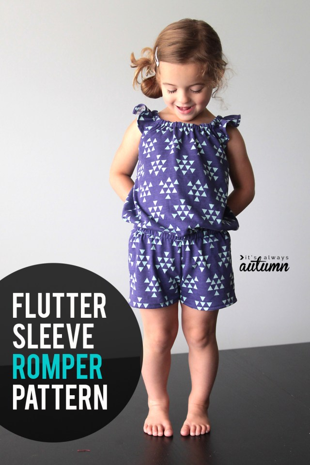 Playsuit Pattern Sewing Free Pattern For Girls Flutter Sleeve Romper Sewing Tutorial